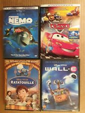 Wall E Ratatouille Finding Nemo Cars w/slipcover Dvd Walt Disney Pixar lot