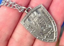 ARCHANGEL St MICHAEL SHIELD Saint Medal NECKLACE Pendant Boxed Diamond Cut 24""