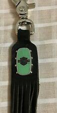VTG Harley Davidson Metal Shield Emblem Leather Fringe Key Chain Fob Belt Clip