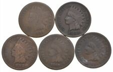1880s Lot (5) Indian Head Cents 1884 1888 1888 1880 1882 US Coin Collection *909