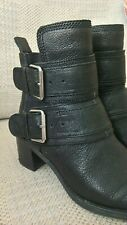 Clarks Womens Black Leather Biker Ankle Boots Size 6