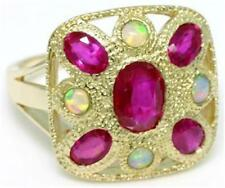 Real Ruby & Opal 9k 9ct 375 Solid Gold Antique Style Ring Natural Genuine