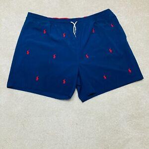 NEW Polo Ralph Lauren Swim Trunks Mens 4XB All Over Pony Logo Shorts Lined Blue
