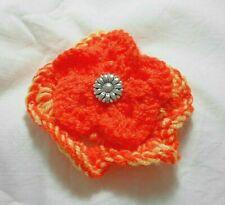 Hand knitted flower hair clip, 9 cm dia., Yellow/Orange, barrette