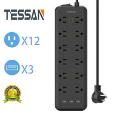 12 Outlet & 3 USB Surge Protector Power Strip With Flat Plug For Home Appliance.