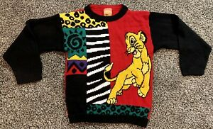 Disney Boys 10/12 M Vintage Lion King Simba Red Black Yellow sweater USA Acrylic