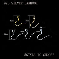 925 Sterling Silver gold Earrings Hook Coil Ear Wire DIY jewelry earring finding