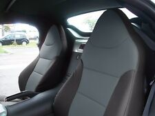 PONTIAC SOLSTICE 2006-2009 BLACK/CHARCOAL S.LEATHER CUSTOM MADE FRONT SEAT COVER