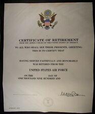30 X 1960's UNITED STATES AIR FORCE UNUSED RETIREMENT CERTIFICATES.
