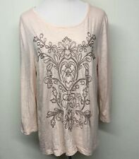 Chicos Zenergy Womens Embroidered Shirt Top Sz 3 XL Melon Tan Gauzy 3/4 Sleeve