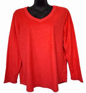 Pink K Minky Women's Size XL Red V-Neck Pajama Shirt Fleece Long Sleeve Top, NWT