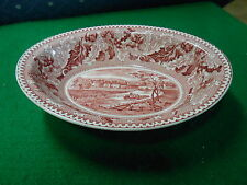 """Vintage JOHNSON BROS.China HISTORIC AMERICA """"Pink"""" Vegetable Bowl ERIE CANAL"""