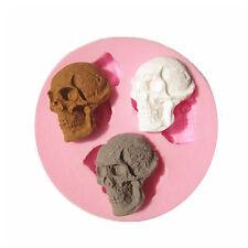 Utility DIY 3 Cavity Skull Silicone Molds Sugarcraft Baking Tool Cake Decoration