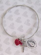New Catholic Religious Infant Prague Italy Medal Cross Red Crystal Heart Bangle