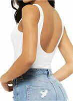 Women's Sleeveless T Shirt Backless Tank Tops Bodysuit, A01 White, Size Small B5