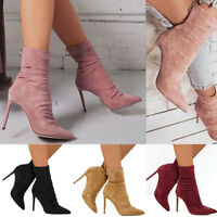 Womens Ladies Ankle Boots Stretch Stiletto High Heels Pointed Toe Shoes Size