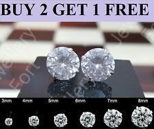WOMENS GENUINE 925 SOLID STERLING SILVER CUBIC ZIRCONIA ROUND STUD EARRINGS