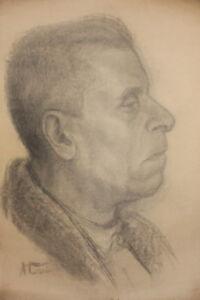Antique pencil drawing portrait signed