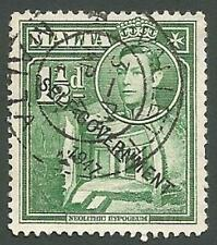 Malta Scott# 236, Neolithic Ruins, King George VI, 1½p, Used, 1953