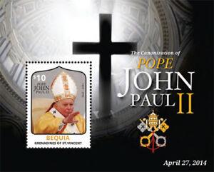 BEQUIA 2014- THE CANONIZATION OF POPE JOHN PAUL II STAMP SOUVENIR SHEET (#2) MNH