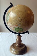 Stylish Antique Style Polished Wooden Globe on Rotating Stand - Matt Black Axis