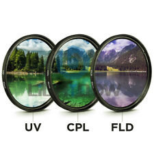 Prettyia 58mm Professional Glass Filter Kit UV+CPL+FLD for Canon NIkon Sony