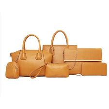 6 pcs Damen PU Leder Umhängetasche Tasche Handtaschen Messenger Schultertasche