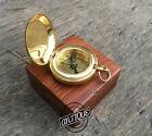 Vintage Old Ross London Compass - Brillo dorado - Caja de madera gratis - M