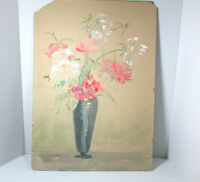 Vintage  15 x 21 Painting Pink White Flowers in Blue Vase Signed c. 1939