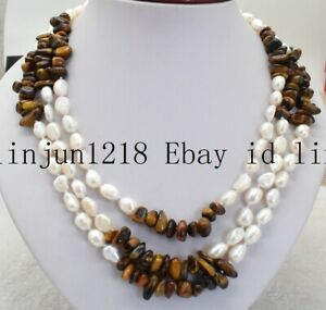 3 Row 7-8mm Baroque White Pearl and Yellow Tiger's Eye Gemstone Necklace 18-20''