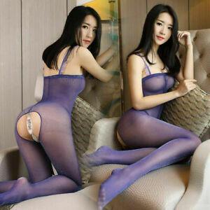 Ladies Sexy Shiny Glossy Sheer Nylon Bodystocking Transparent Bodysuit Nightwear