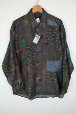 Vintage Mens 90S abstract crazy print festival shirt SIZE LARGE (C730)