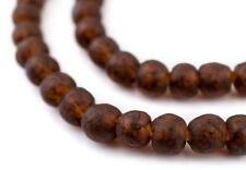Amber Black Swirl Recycled Glass Beads 11mm Ghana African Sea Glass Brown Round