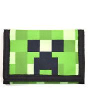 Minecraft Creeper Face Green Kids Velcro Wallet 15cm x 10cm