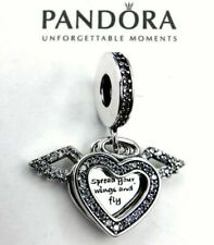 Genuine PANDORA Heart & Angel Wings Sterling Silver Dangle Charm Pendant ALE