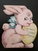 Vtg Norcross Easter Greeting Card Diecut Pink Bunny Rabbit Baby's First 1940s