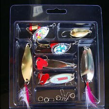 Fishing Spoon Lures Lot 7 Spinner Bait Pike Salmon Bass Sea Trout Trolling Surf
