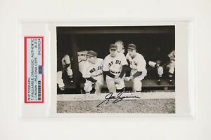 TED WILLIAMS DOM DIMAGGIO JOE CRONIN Autographed Photo PSA Certified Authentic