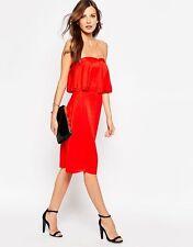 *New* REISS Red Rum Raffy Ruffle Dress  ~ Size UK 12