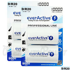 4 x everActive D Size Rechargeable batteries Professional Line min 9000mAh Ni-MH