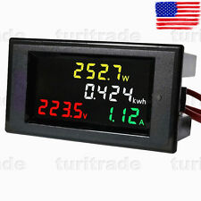 AC 80-300V LCD Digital Voltmeter Ammeter Volt Amp Power Kwh Panel Meter 100A CT