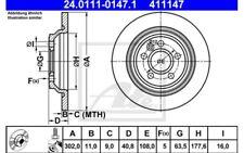 ATE Juego de 2 discos freno Trasero 302mm Para VW GOLF BMW 24.0111-0147.1