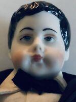 Antique?  China/ Bisque Parian Male/ Boy  Shoulder Head Doll With Dark Hair