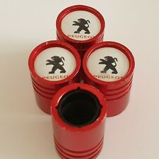 PEUGEOT Matte red valve Tyre Dust Caps Plastic Inside all models Non stick