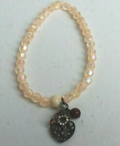 Handcrafted Charm Bracelet Cream Irridescent Stretch Heart USA