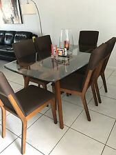 7 Piece Dining Table Set 6 Chairs. Brown wood & glass plus two complimentary sto