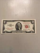 1953 Two Dollar US Note Red Seal $2 Bill, Jefferson Crisp Uncirculated