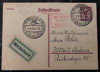 1926 Dortmund Germany Airmail Philatelic Cancel Postcard Cover To Zittau