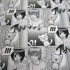Tissu au mètre coton manga bande dessinée noir blanc anime dessin animé 2,8m de large