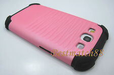 for samsung galaxy s3 pink black hybrid rugged dual layer case / siii / SIII
